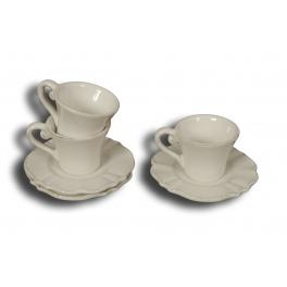 Collioure tea cup and saucer, antique white ceramic h.8