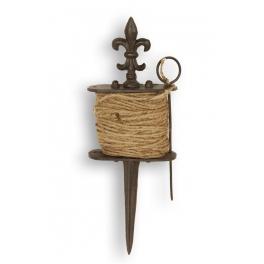 Garden cord on cast iron 'fleur de lys' spike h.32