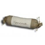 Linen Esprit de famille bolster cushion L.65