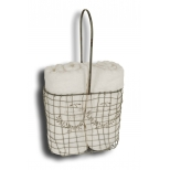Wire mesh container with 2 bath towels 100x50 h.42 22x11