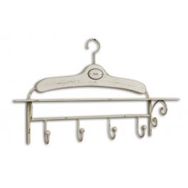 Ivory patina hanger with hook rack 'bain' h.42 65x15 'bain'