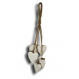 Bunch of hearts to suspend, white wood h.20