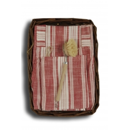 Burberry apron, tea towel and brush ensemble, wicker tray