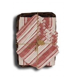 Burberry table cloth 150x150 and 6 serviettes, wicker tray