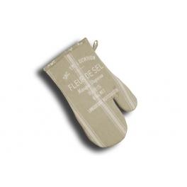 Oven glove 33x17 'fleur de sel' white