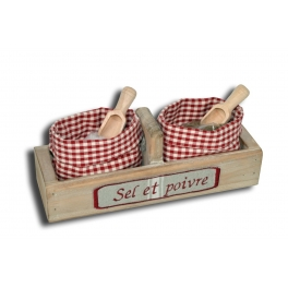 Box with salt and pepper, 200g sel de camargue, 80g pepper and dosers 25x8 h.9
