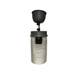 Jam jar ceiling light with matching ceiling cup, cylindrical h.17 d.9 cable 130