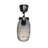 Jam jar ceiling light with matching ceiling cup, barrel h.20 d.12 cable 130