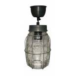 Jam jar ceiling light, barrel with cage and matching ceiling cup h.20 d.12 cable 130
