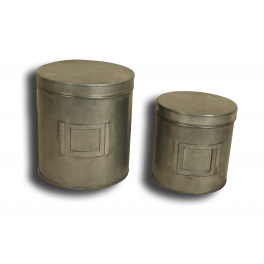 Zinc round boxes, set of 2, d.15 h.17, d.13 h.13