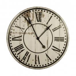 Large wooden wall clock, antique white distressed finish d.82