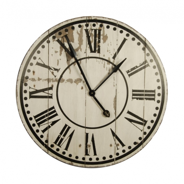 Large Wooden Wall Clock Antique White Distressed Finish