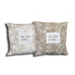 Colette blanc square cushion, cotton 48x48