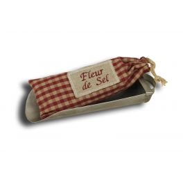 Zinc scoop with sachet 'fleur de sel' in red check fabric