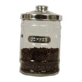 Glass storage jar 'coffee' with aluminium lid d14.5 h23