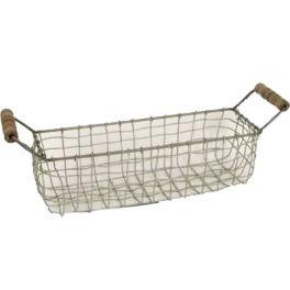 Storage basket, grey wire with wood handles L36cm X W10cm X H12cm