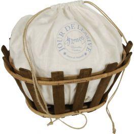 Oval wood slat basket h.20 40x31 'jour de lessive'