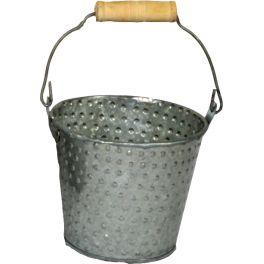 Piquete zinc pail small, wood handle d.10 h.9