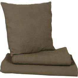 Floral embossed square cushion taupe, removable cover 48x48 'garance'