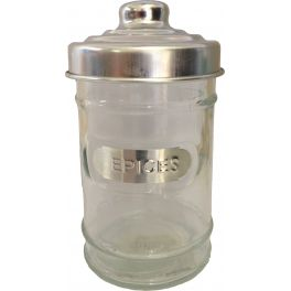 Glass storage jar 'epices' with aluminium lid d4 h10