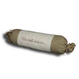 Linen Une belle histoire bolster cushion L65cm