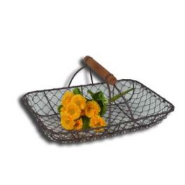 Rectangular wire mesh tray with wood handle 28x19 h13