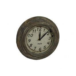 Zinc clock small, distressed finish d.26