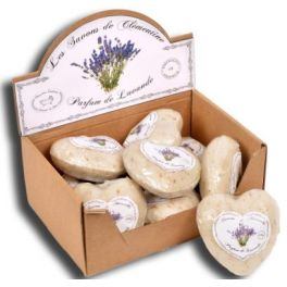 Lavender heart shaped Marseille soap, film wrapped 100g