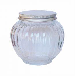 Glass pumpkin jar, aluminium lid d.12 h.12