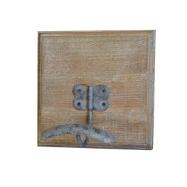 Wall hook on wood base 18x18