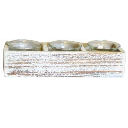 3 glass candle holders, white washed wood box h.5 22x8