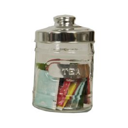 Glass storage jar 'tea' with aluminium lid d10 h15