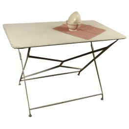 Metal folding bistro table ivory h.74 106x62 distressed finish