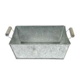 Zinc basket, wood handles, rectangular small h.9 25x18