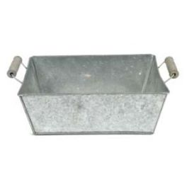 Zinc basket, wood handles, rectangular  large h.9.5 29.5x21.5