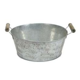 Zinc bucket, wood handles, round large h.10 d.25