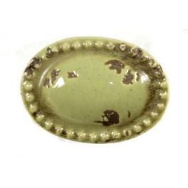 Door knob, olive porcelain oval L 4.5