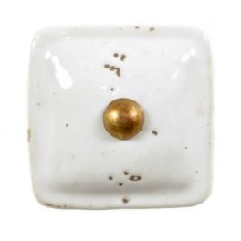 Door knob, white porcelain square L 3.5 x W 3.5