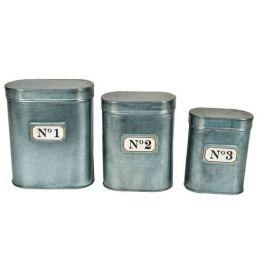 Zinc oval boxes, set of 3, 16x9xH20 14x8xH18 12x7xH16