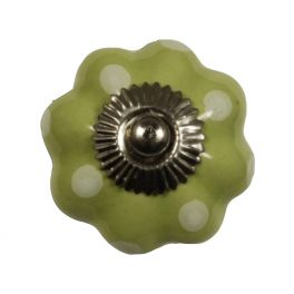 Door knob, green coloured porcelain with d