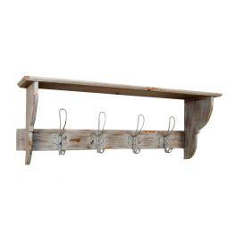 Shelf with hook rack, wood 80X20 H30