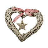 Wicker advent heart with ribbon and star 30x28