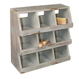 French blue storage unit 9 compartments, wood 34x14 H34
