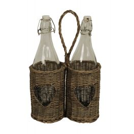Bottles in grey wicker holder 22x11 h36