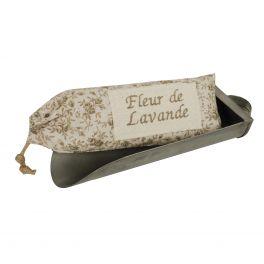 Zinc scoop with sachet ''fleur de lavande'' in neutral floral fabric