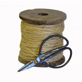 Wood bobbin with cord and scissors, small d9 h9