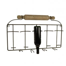 Rolling pin wine bottle and glass holder 64x40