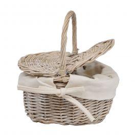 Mini grey wicker picnic basket 32x10 h26