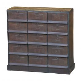 Indus 15 pigeonhole unit, metal and wood W 90 x D 32 x H 90