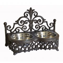 Pet food and water dishes h.23 32x16 cast iron